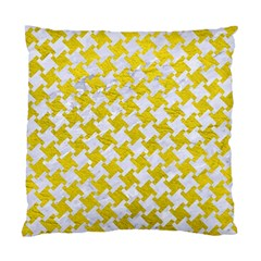 Houndstooth2 White Marble & Yellow Leather Standard Cushion Case (two Sides) by trendistuff