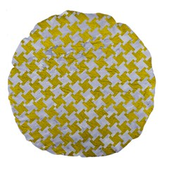 Houndstooth2 White Marble & Yellow Leather Large 18  Premium Flano Round Cushions by trendistuff