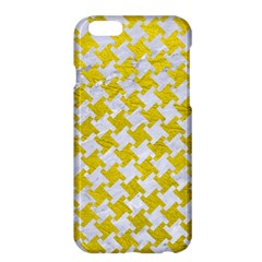 Houndstooth2 White Marble & Yellow Leather Apple Iphone 6 Plus/6s Plus Hardshell Case by trendistuff