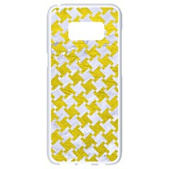 Houndstooth2 White Marble & Yellow Leather Samsung Galaxy S8 White Seamless Case