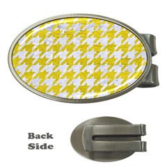 Houndstooth1 White Marble & Yellow Leather Money Clips (oval)  by trendistuff