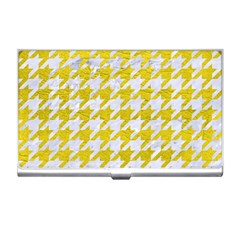 Houndstooth1 White Marble & Yellow Leather Business Card Holders