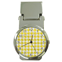 Houndstooth1 White Marble & Yellow Leather Money Clip Watches by trendistuff
