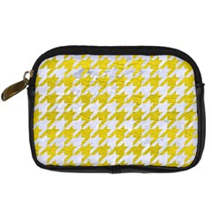 Houndstooth1 White Marble & Yellow Leather Digital Camera Cases by trendistuff