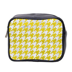 Houndstooth1 White Marble & Yellow Leather Mini Toiletries Bag 2 Side by trendistuff