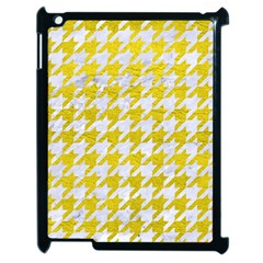 Houndstooth1 White Marble & Yellow Leather Apple Ipad 2 Case (black) by trendistuff