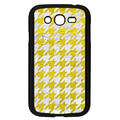 Houndstooth1 White Marble & Yellow Leather Samsung Galaxy Grand Duos I9082 Case (black) by trendistuff