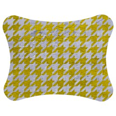 Houndstooth1 White Marble & Yellow Leather Jigsaw Puzzle Photo Stand (bow) by trendistuff