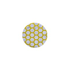Hexagon2 White Marble & Yellow Leather (r) 1  Mini Magnets by trendistuff