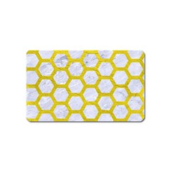Hexagon2 White Marble & Yellow Leather (r) Magnet (name Card) by trendistuff
