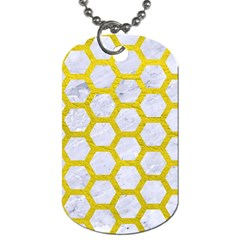 Hexagon2 White Marble & Yellow Leather (r) Dog Tag (one Side) by trendistuff