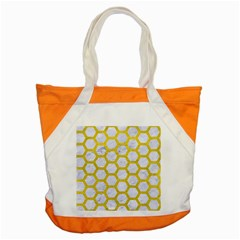 Hexagon2 White Marble & Yellow Leather (r) Accent Tote Bag