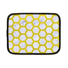 Hexagon2 White Marble & Yellow Leather (r) Netbook Case (small)  by trendistuff