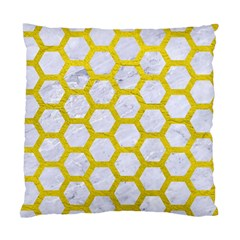 Hexagon2 White Marble & Yellow Leather (r) Standard Cushion Case (one Side) by trendistuff