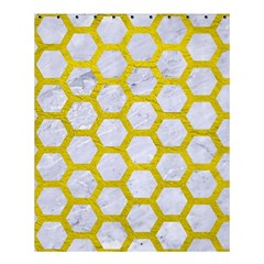 Hexagon2 White Marble & Yellow Leather (r) Shower Curtain 60  X 72  (medium)  by trendistuff