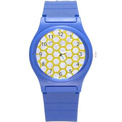 Hexagon2 White Marble & Yellow Leather (r) Round Plastic Sport Watch (s) by trendistuff