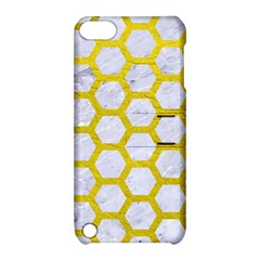 Hexagon2 White Marble & Yellow Leather (r) Apple Ipod Touch 5 Hardshell Case With Stand by trendistuff