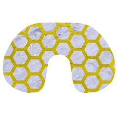 Hexagon2 White Marble & Yellow Leather (r) Travel Neck Pillows by trendistuff