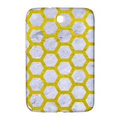 Hexagon2 White Marble & Yellow Leather (r) Samsung Galaxy Note 8 0 N5100 Hardshell Case  by trendistuff