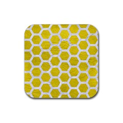 Hexagon2 White Marble & Yellow Leather Rubber Square Coaster (4 Pack)  by trendistuff