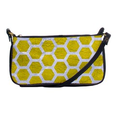 Hexagon2 White Marble & Yellow Leather Shoulder Clutch Bags by trendistuff