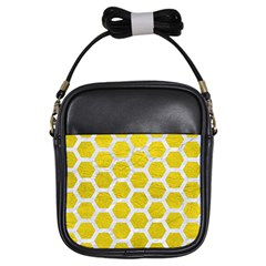 Hexagon2 White Marble & Yellow Leather Girls Sling Bags by trendistuff