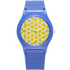 Hexagon2 White Marble & Yellow Leather Round Plastic Sport Watch (s) by trendistuff