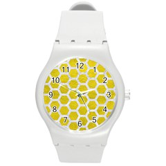 Hexagon2 White Marble & Yellow Leather Round Plastic Sport Watch (m) by trendistuff
