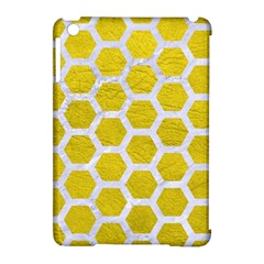 Hexagon2 White Marble & Yellow Leather Apple Ipad Mini Hardshell Case (compatible With Smart Cover) by trendistuff