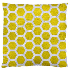 Hexagon2 White Marble & Yellow Leather Standard Flano Cushion Case (one Side) by trendistuff