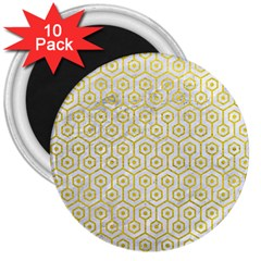 Hexagon1 White Marble & Yellow Leather (r) 3  Magnets (10 Pack)  by trendistuff