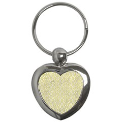 Hexagon1 White Marble & Yellow Leather (r) Key Chains (heart)  by trendistuff