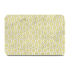 Hexagon1 White Marble & Yellow Leather (r) Plate Mats by trendistuff