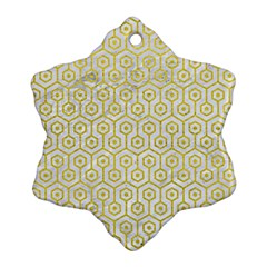 Hexagon1 White Marble & Yellow Leather (r) Snowflake Ornament (two Sides) by trendistuff