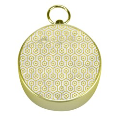 Hexagon1 White Marble & Yellow Leather (r) Gold Compasses by trendistuff