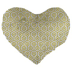 Hexagon1 White Marble & Yellow Leather (r) Large 19  Premium Flano Heart Shape Cushions