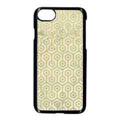 Hexagon1 White Marble & Yellow Leather (r) Apple Iphone 8 Seamless Case (black) by trendistuff