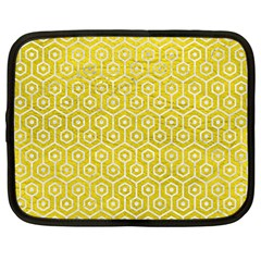 Hexagon1 White Marble & Yellow Leather Netbook Case (large) by trendistuff
