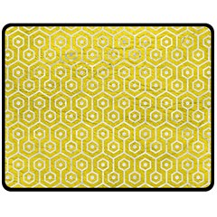 Hexagon1 White Marble & Yellow Leather Fleece Blanket (medium)  by trendistuff