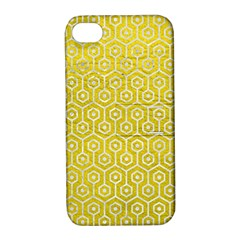 Hexagon1 White Marble & Yellow Leather Apple Iphone 4/4s Hardshell Case With Stand by trendistuff