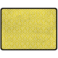 Hexagon1 White Marble & Yellow Leather Double Sided Fleece Blanket (large)  by trendistuff