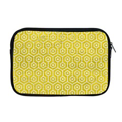 Hexagon1 White Marble & Yellow Leather Apple Macbook Pro 17  Zipper Case