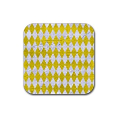 Diamond1 White Marble & Yellow Leather Rubber Coaster (square)  by trendistuff
