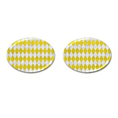 Diamond1 White Marble & Yellow Leather Cufflinks (oval) by trendistuff