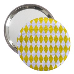Diamond1 White Marble & Yellow Leather 3  Handbag Mirrors by trendistuff
