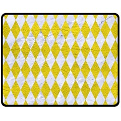 Diamond1 White Marble & Yellow Leather Double Sided Fleece Blanket (medium)  by trendistuff