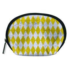 Diamond1 White Marble & Yellow Leather Accessory Pouches (medium)