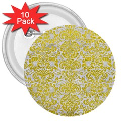 Damask2 White Marble & Yellow Leather (r) 3  Buttons (10 Pack)  by trendistuff