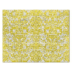 Damask2 White Marble & Yellow Leather (r) Rectangular Jigsaw Puzzl