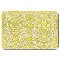 Damask2 White Marble & Yellow Leather (r) Large Doormat